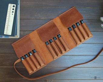 Fountain pen case, leather pen holder