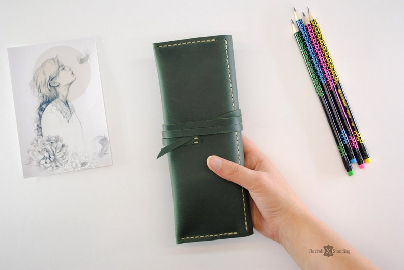 Small leather pencil case  artists gifts. Leather artist image 0