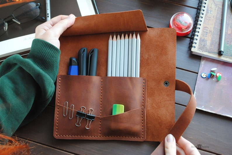 Leather pencil case  personalized gifts for artist pen case image 0