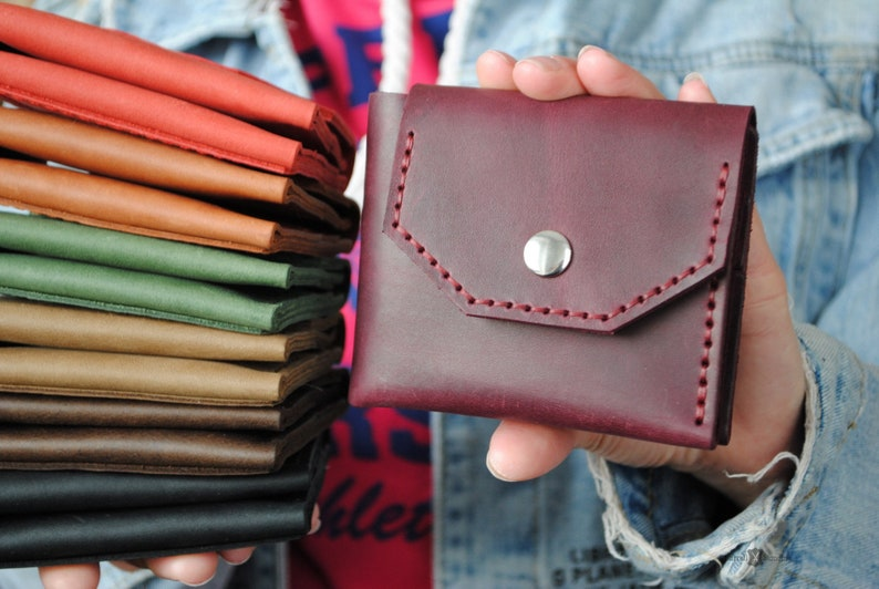 Purple small wallet for women with pocket coin bifold wallet image 0