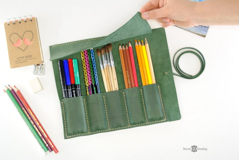 Leather pencil roll   gifts for artists Paint brush roll image 0