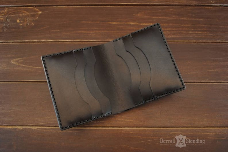 Brown small leather wallet  Handmade leather wallets Card image 0