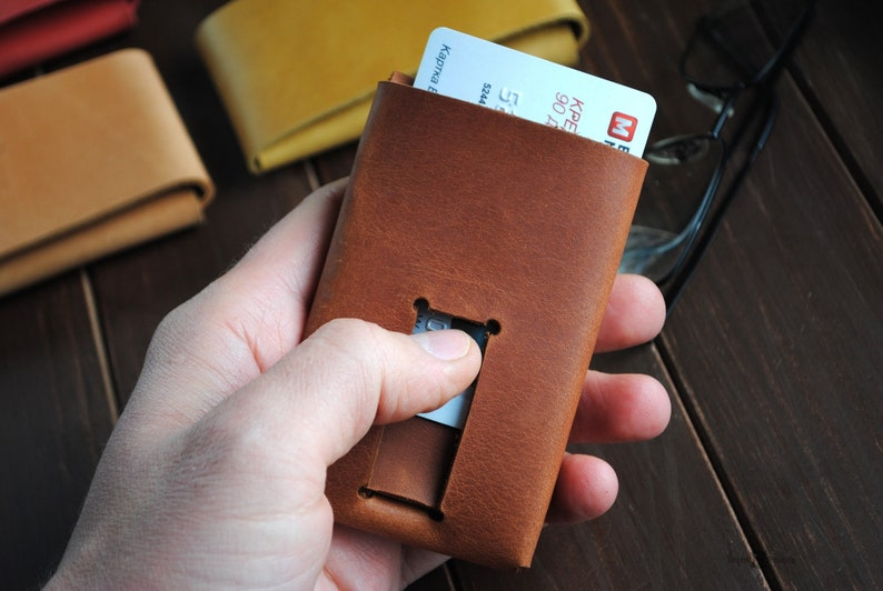 Leather credit card holder minimalist card wallet image 0