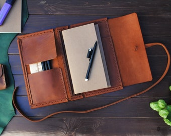 """Leather travelers notebook cover  - 4.3x8.3"""",  Midori 4.25x8.25"""". Leather hand made journal cover"""
