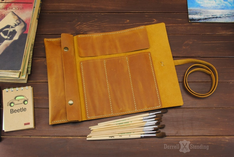 Leather paint brush roll Gift ideas for artists Artist roll image 0