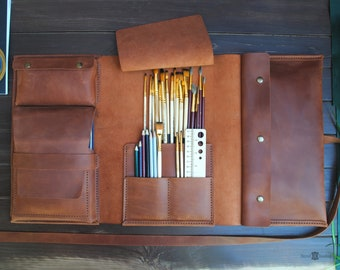 Personalized leather case - gifts for artists. Case for tools, pencils, brushes, paints, notebooks