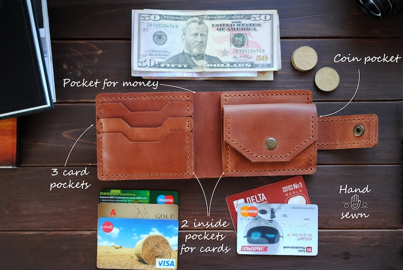 Mens leather personalized wallet with coin pocket bifold image 0