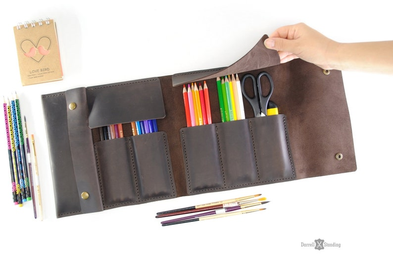 Leather pencil case  gifts for artists. Personalization image 0