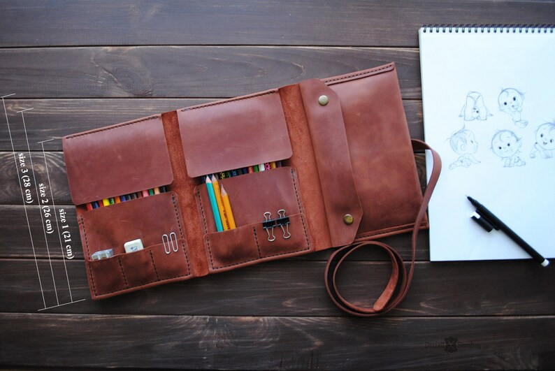 Leather pencil case  gifts for artists. Personalized gift image 0
