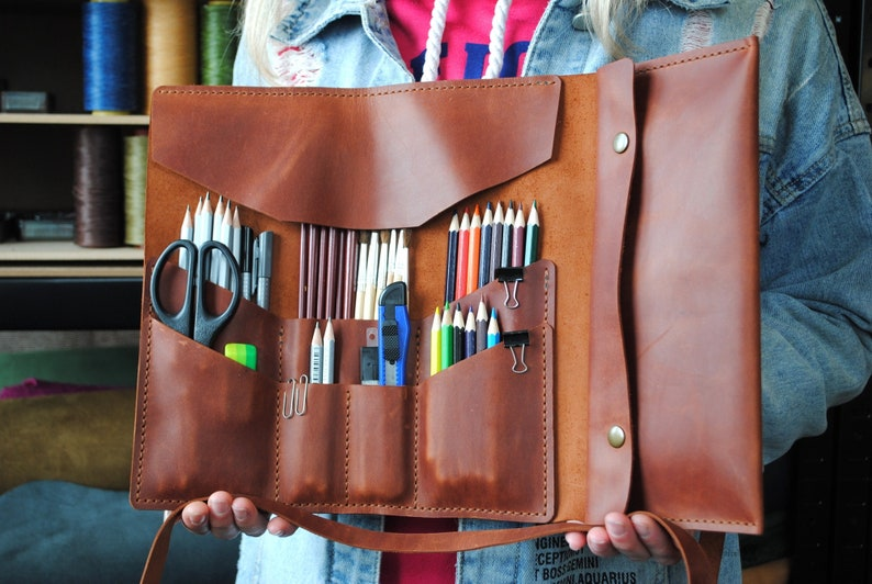 Leather pencil roll  gifts for painter tool roll  pencil image 0