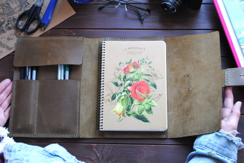 Leather A5 notebook cover   personalized artists gifts. image 0