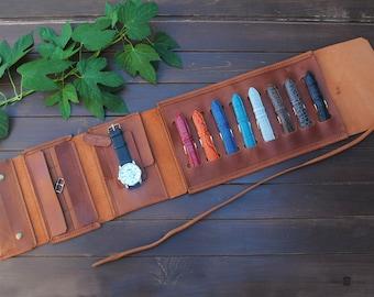 leather watch travel case, Strap case, Buckle case, Travel accessories, Pouch watch, Watch storage, Band organizer