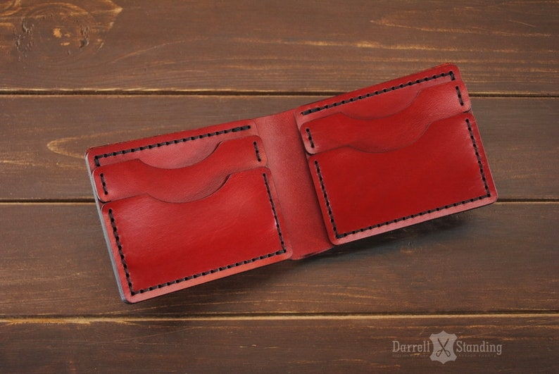 Red wallet Womens leather wallet Wallet for men's Simple image 0
