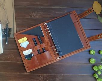 Leather binder 6 ring A5 / Half letter, Refillable planner binder