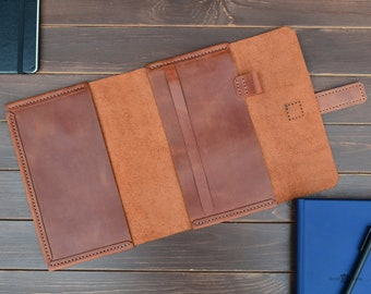 Leather A5 notebook cover -  personalized gifts, planner cover