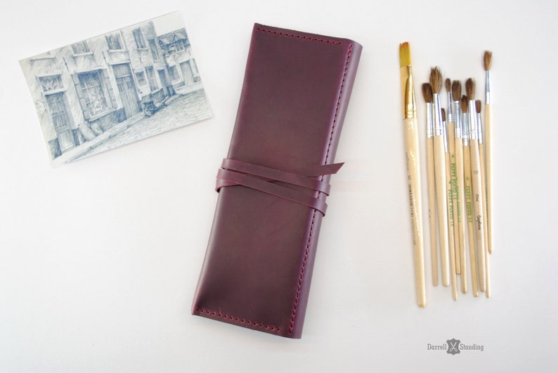 Leather brush case leather pencil case artist gift leather image 0