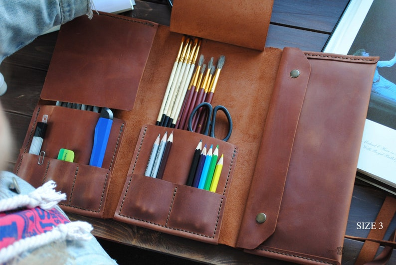 Leather pencil roll  gifts for artists. Leather brush case. image 0