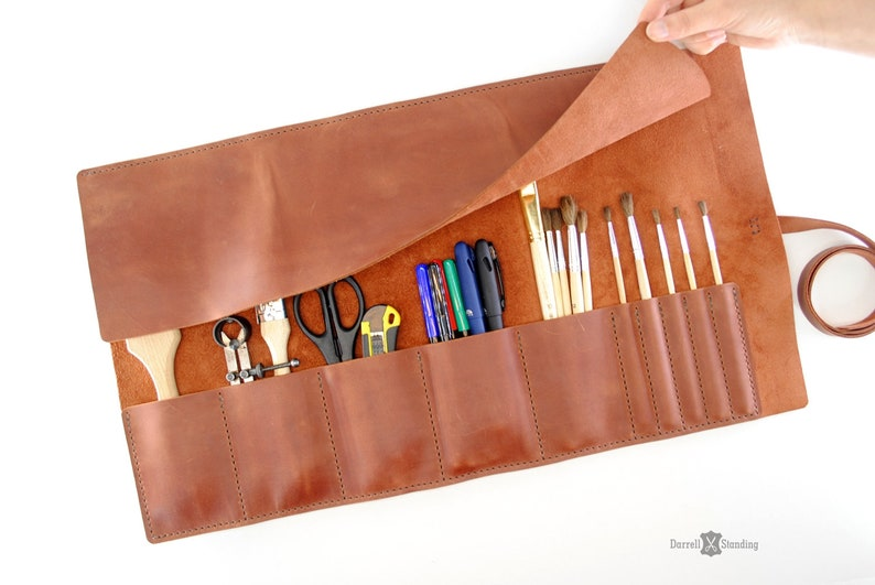 Leather roll Artist roll Leather brush case Paint brush image 0