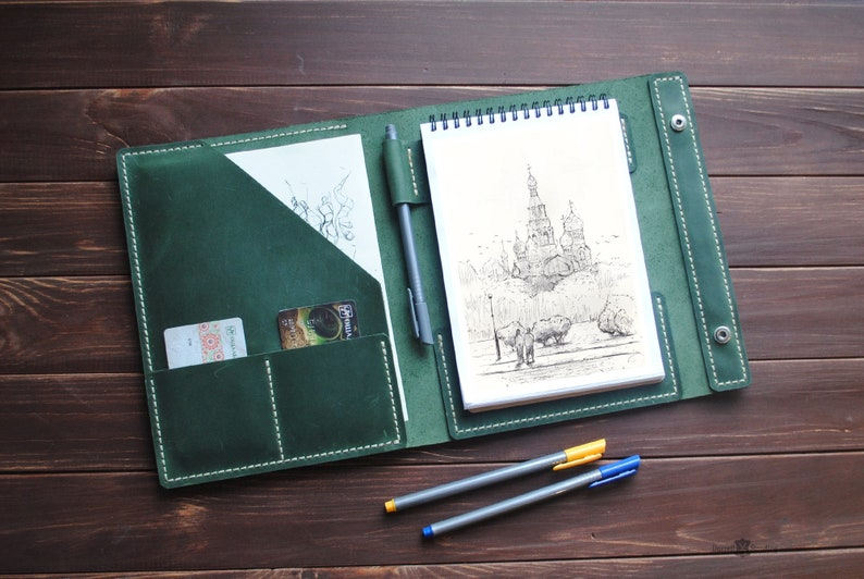 Leather sketchbook cover   personalized artists gifts. Green image 0