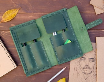 Leather pen case, pencil case - personalized gifts for artist, pen case roll, pencil roll