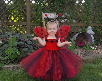 ladybug tutu dress with wings and antenna headband halloween costume for girls ladybug tutu costume infant costume toddler costume
