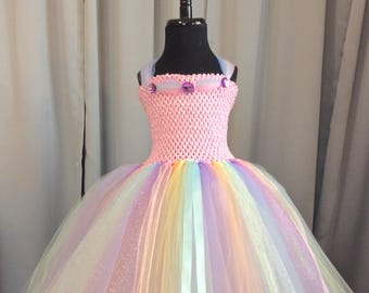 795ace8b0fa3 Pastel rainbow princess tutu dress