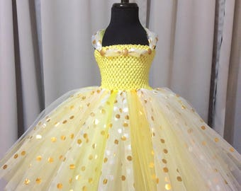 Yellow and white with gold & silver polka dot princess tutu dress, birthday dress, tutu dress for girls, tulle tutu dress, princess dress