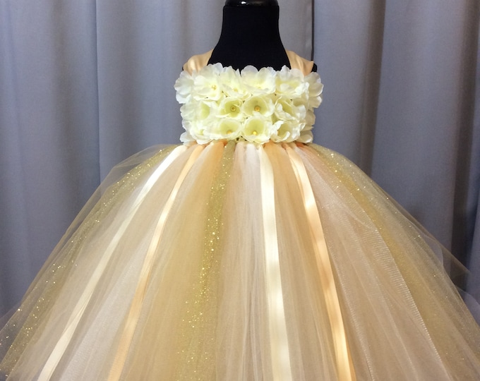 1c26e7db369 Ivory and gold flower girl dress
