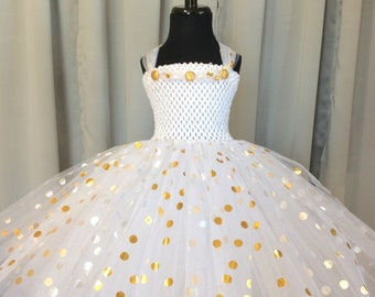 White with gold & silver polka dot princess tutu dress, birthday dress, gift for her, tutu dress for girls, tulle tutu dress, princess dress