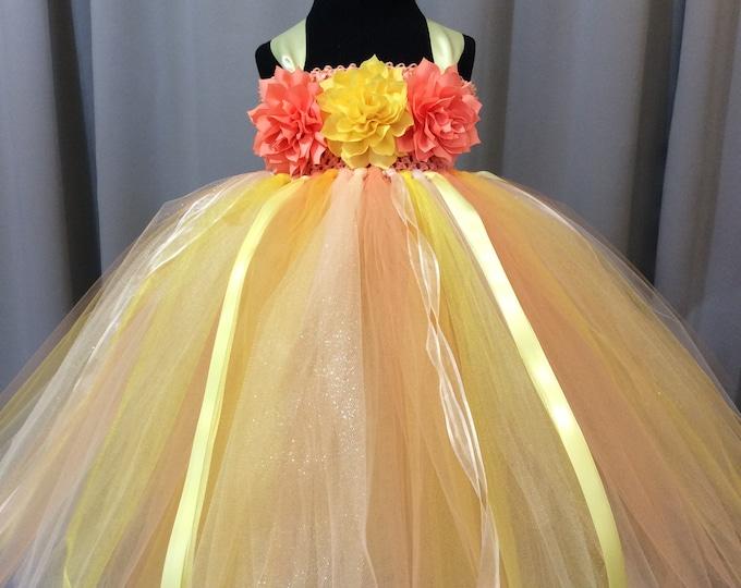 Flower girl dresses fuzzyducklingdesigns peach yellow and ivory flower girl dress tulle flower girl dress tutu dress mightylinksfo