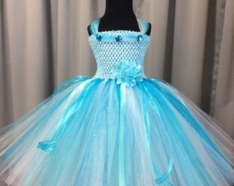 ac8270c19 Light blue, aqua, turquoise, and white princess tutu dress, tutu dress for  girls, birthday dress, princess dresses for girls, princess tutu