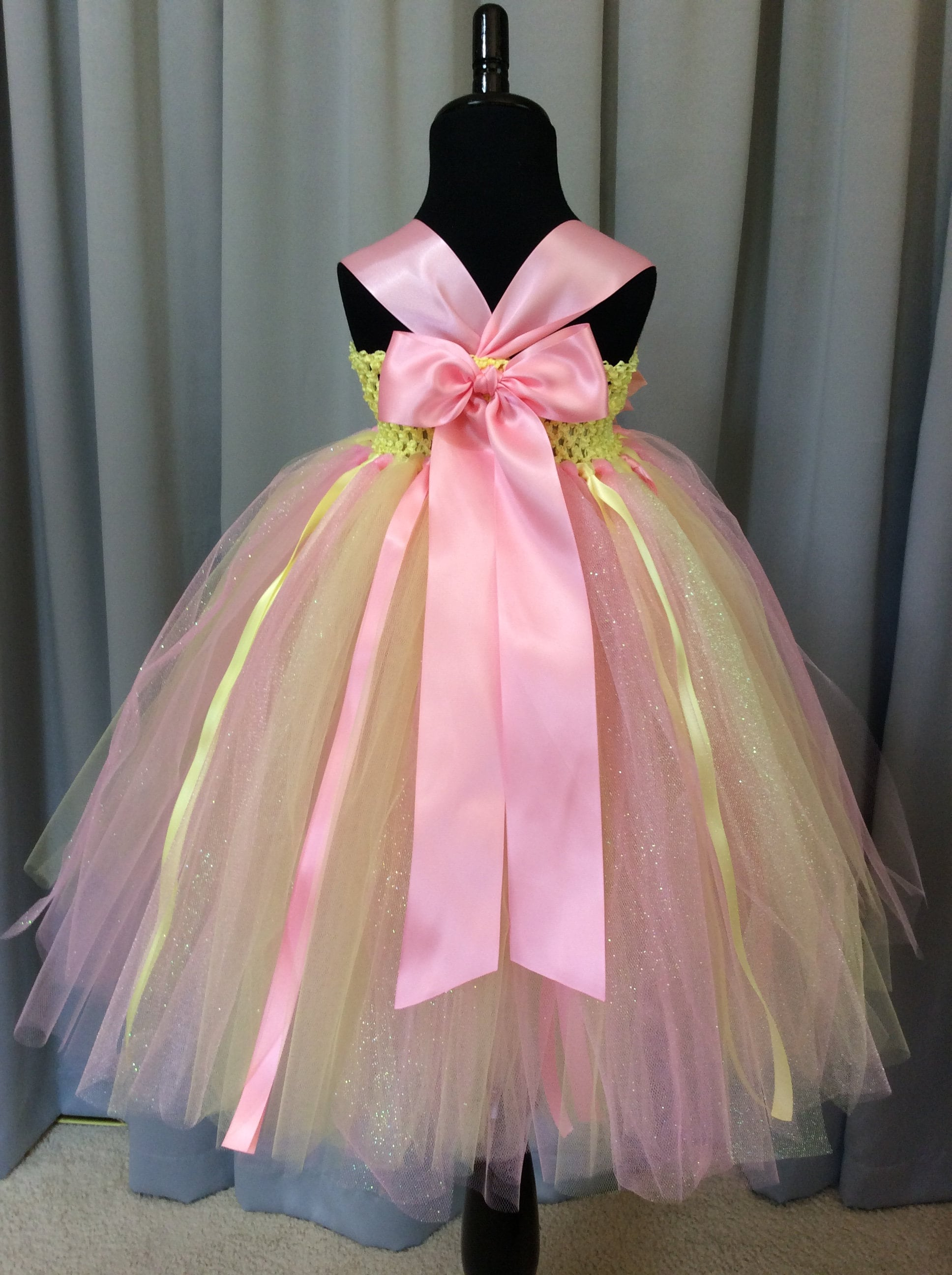 Yellow and pink flower girl dress tulle flower girl dress tutu gallery photo gallery photo gallery photo mightylinksfo
