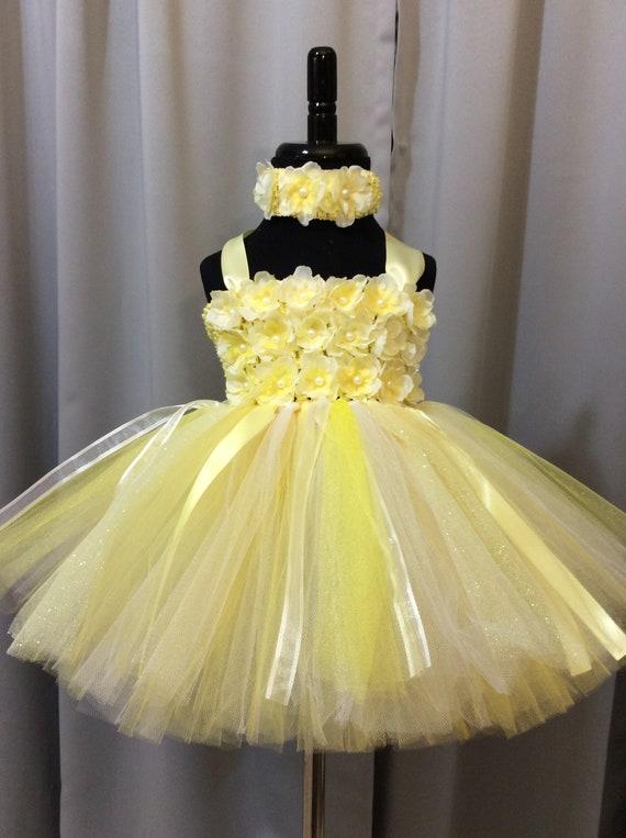 Yellow White Princess Dress Little Girl Tutu Infant Tutu Etsy