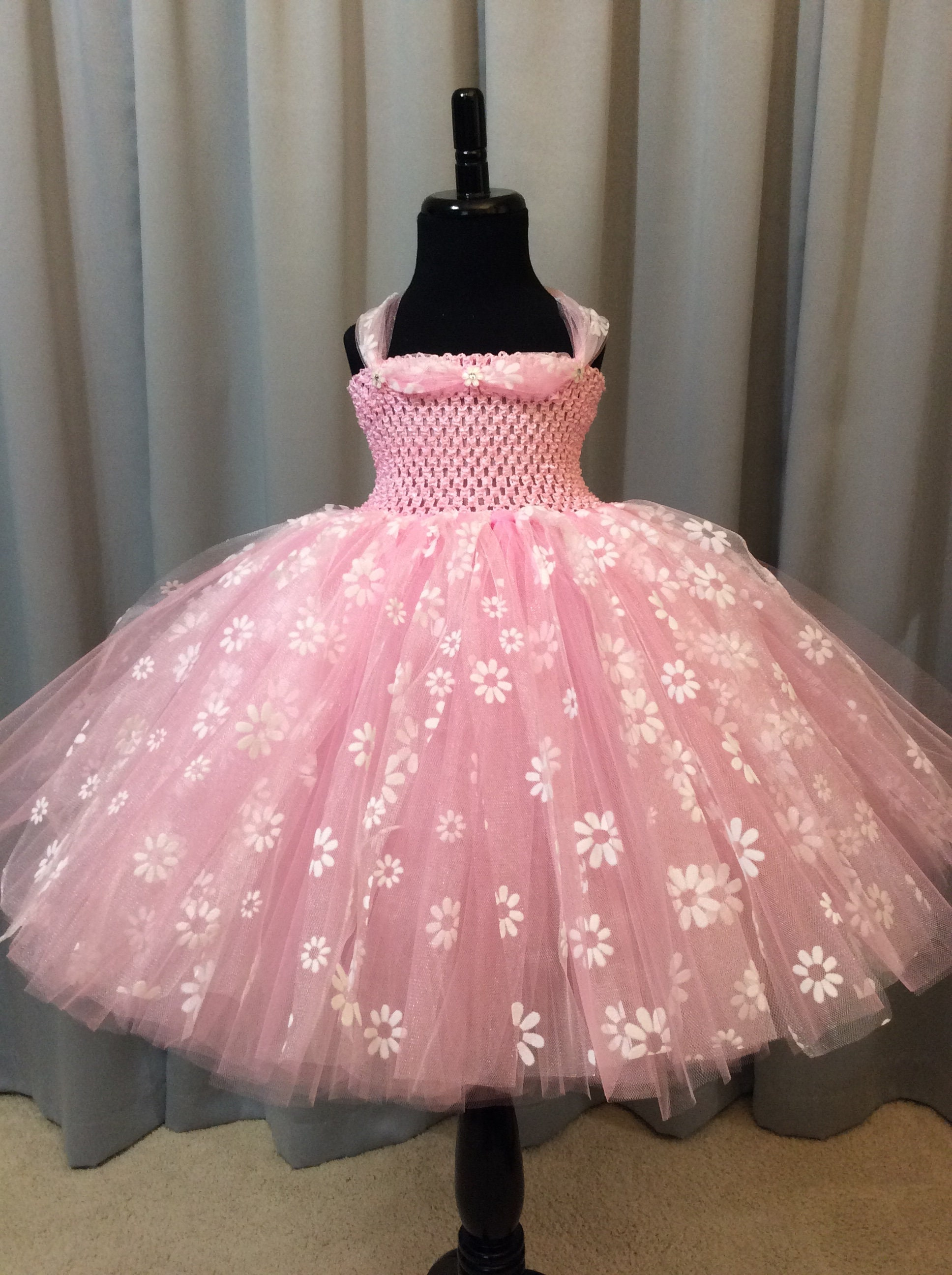 Pink Princess Tutu Dress With White Flowers Birthday Dress Etsy