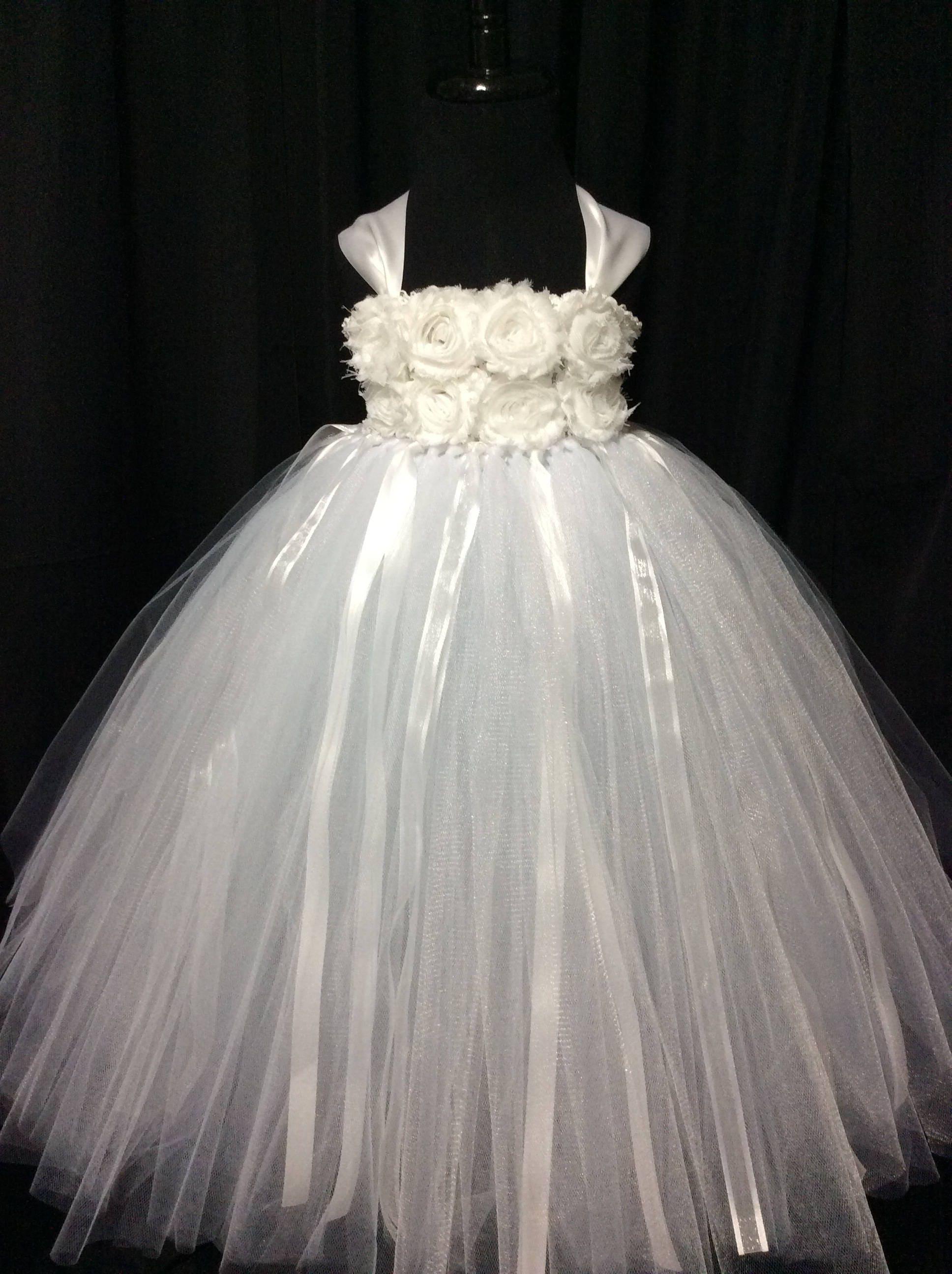 White Flower Girl Dress Tulle Flower Girl Dress Tutu Dress For