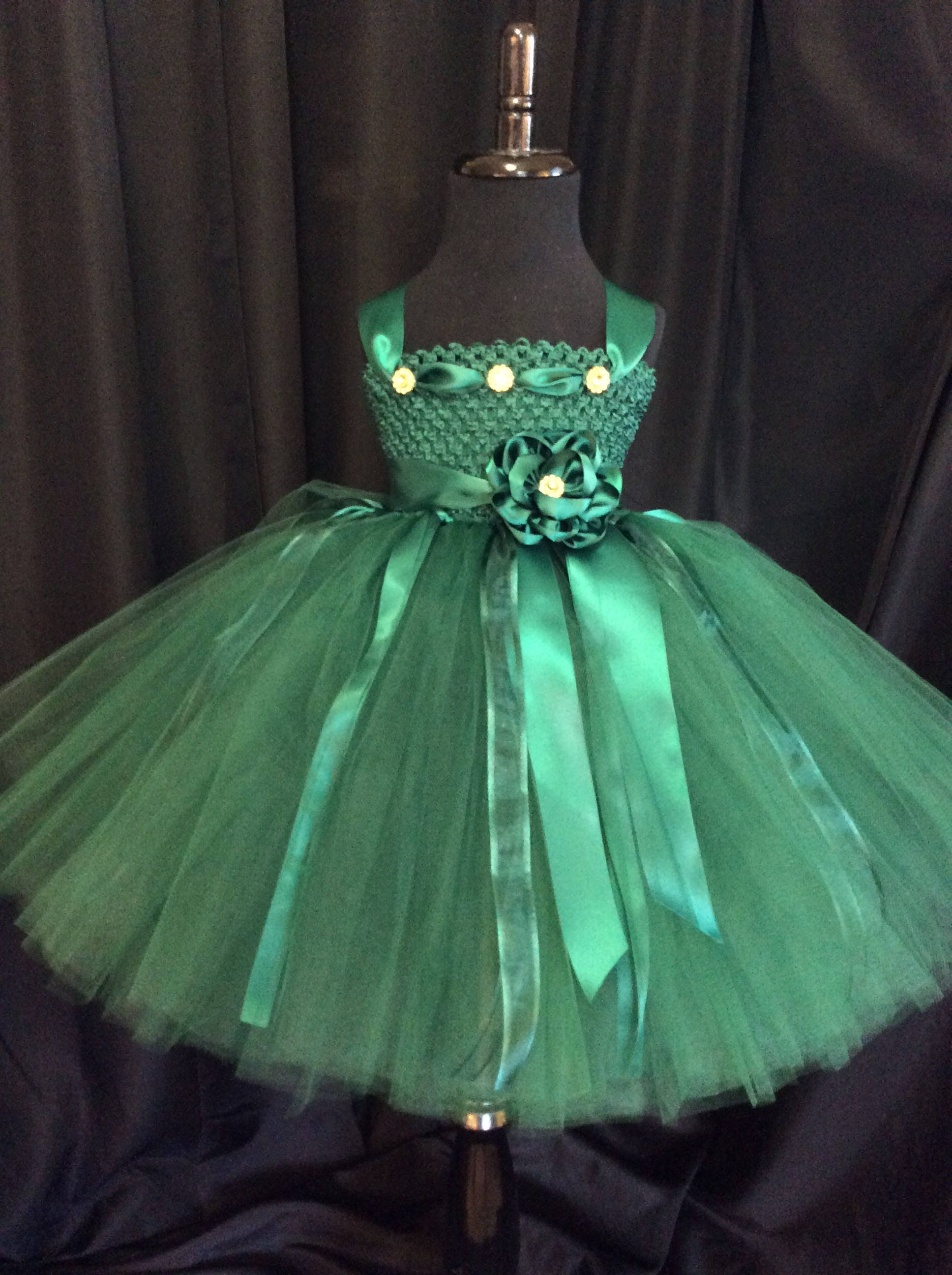 Hunter green flower girl dress, tulle flower girl dress, tutu dress ...