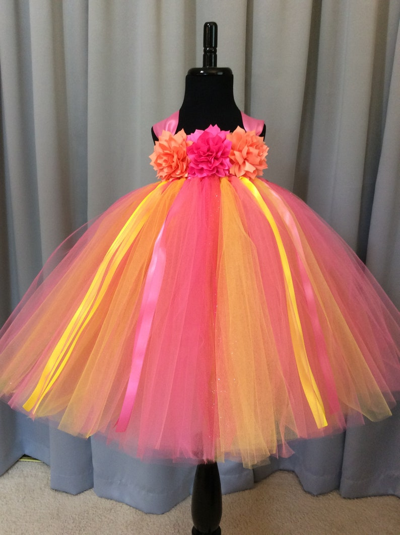 97fc18fa58c1 Yellow coral and pink flower girl dress flower bodice | Etsy