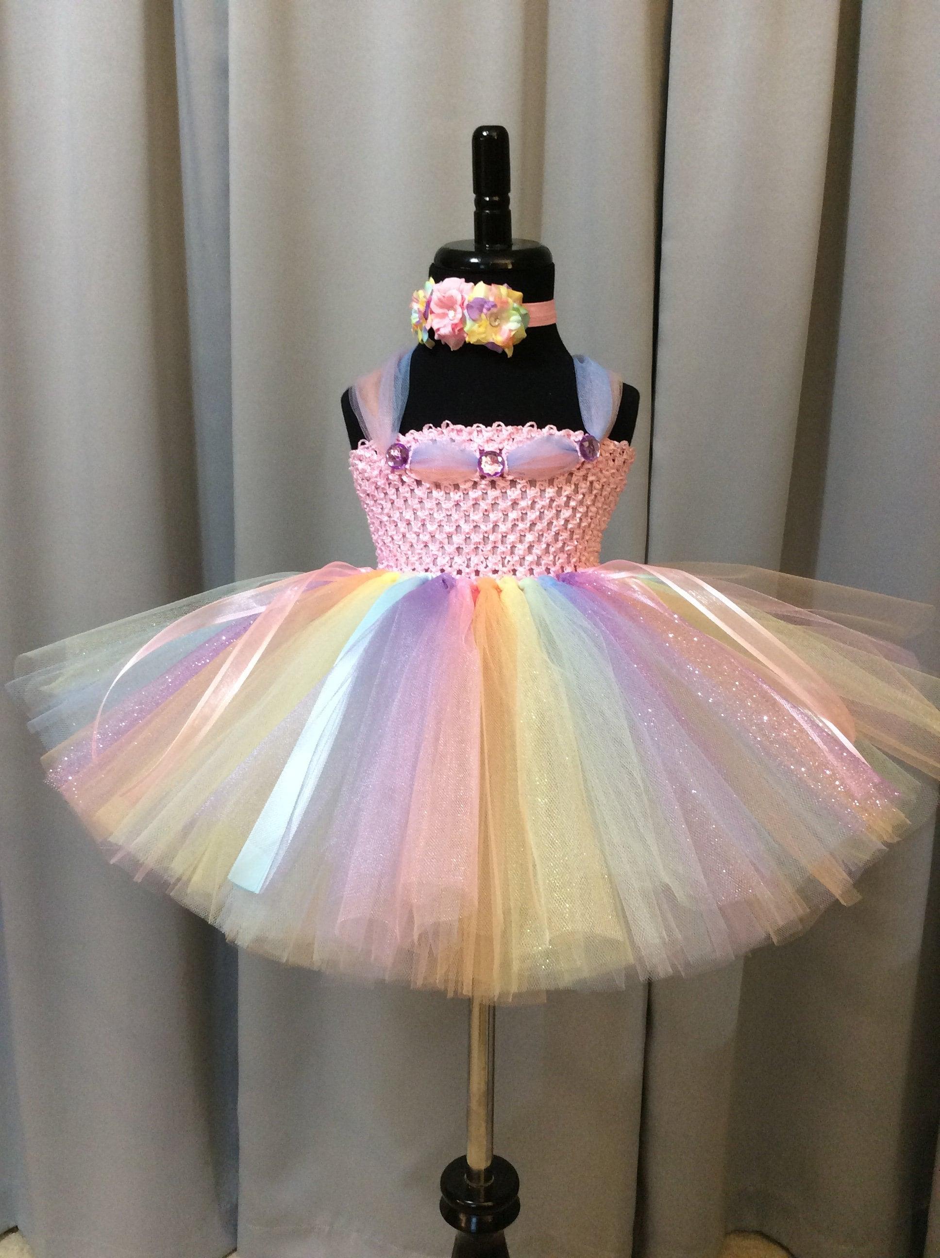 27aad80dd8 Pastel rainbow fairy tutu dress w/headband & wings; fairy princess birthday;  fairy costume for toddlers; first birthday outfit; rainbow tutu