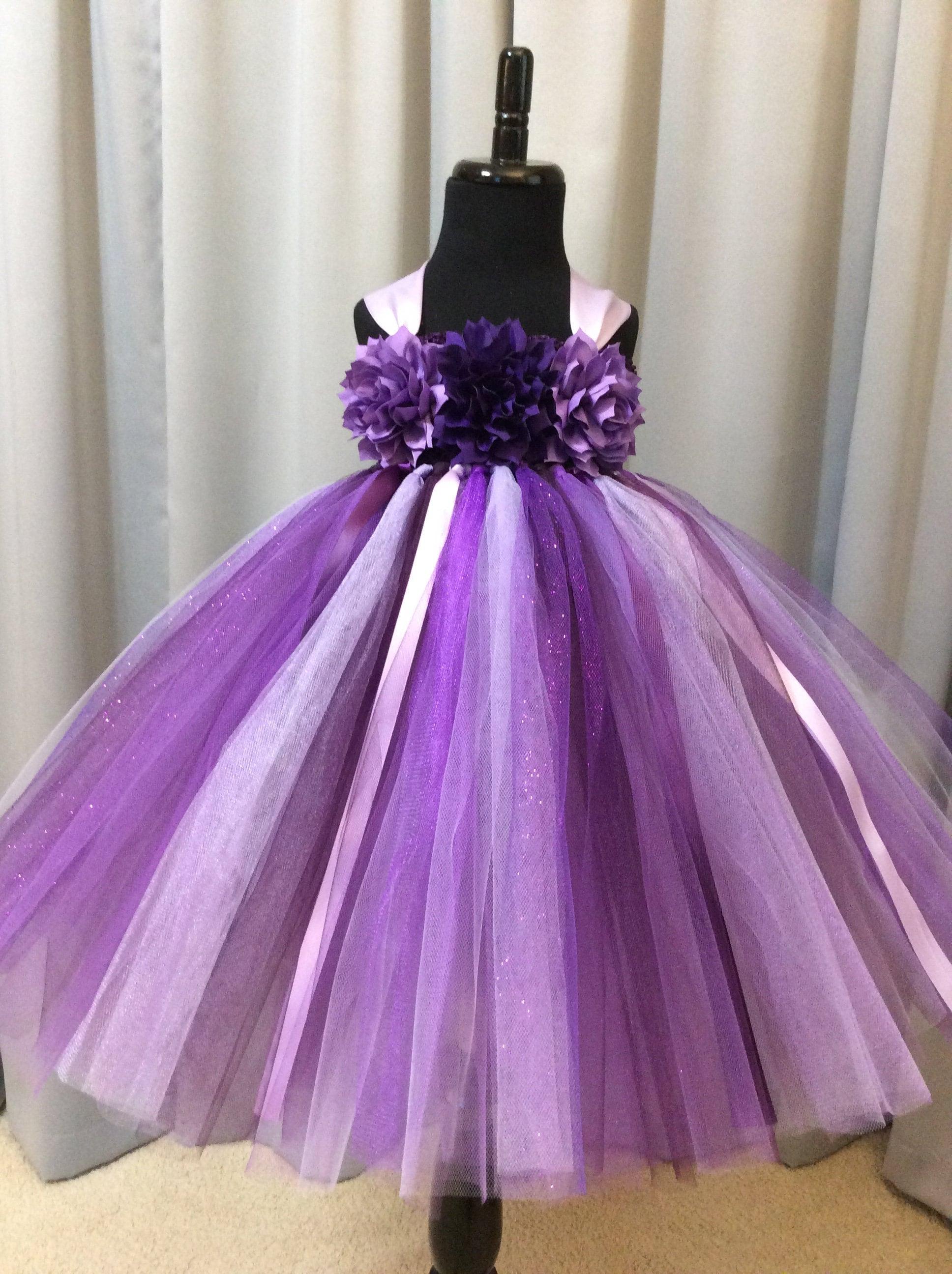06ff571c742 Plum purple and lavender flower girl dress floral bodice