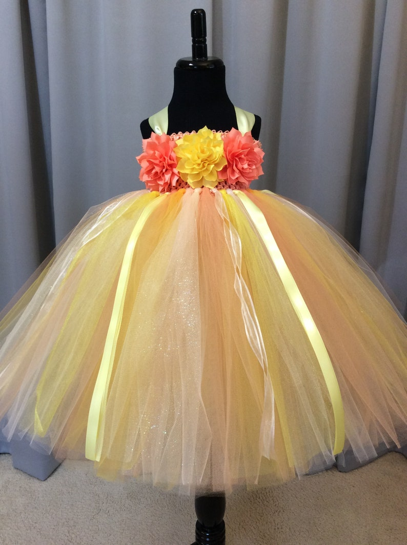 3f5bbba31a7 Peach yellow and ivory flower girl dress flower girl tutu