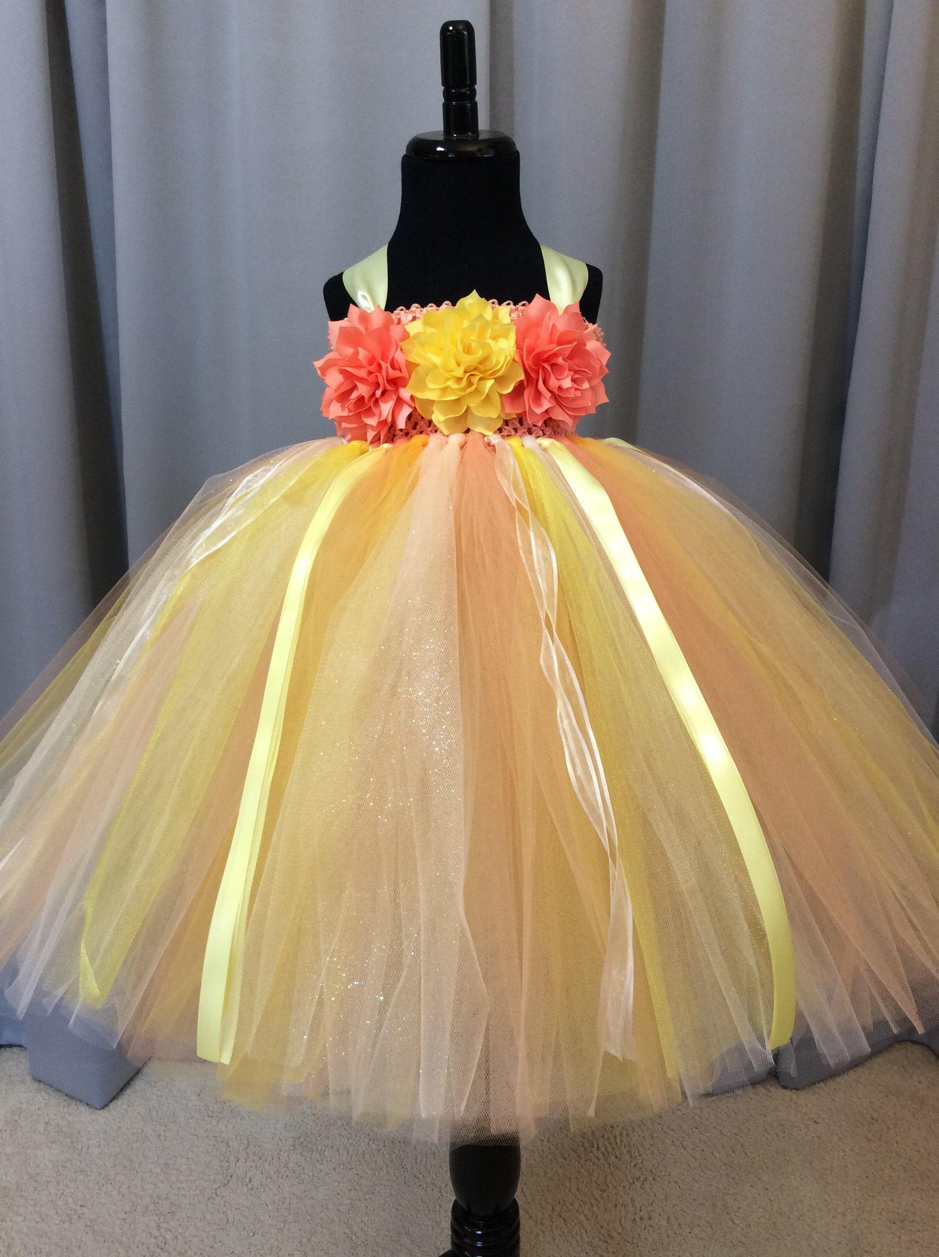 Peach Yellow And Ivory Flower Girl Dress Tulle Flower Girl Dress