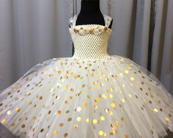 Ivory with gold & silver polka dot princess tutu dress, birthday dress, gift for her, tutu dress for girls, tulle tutu dress, princess dress