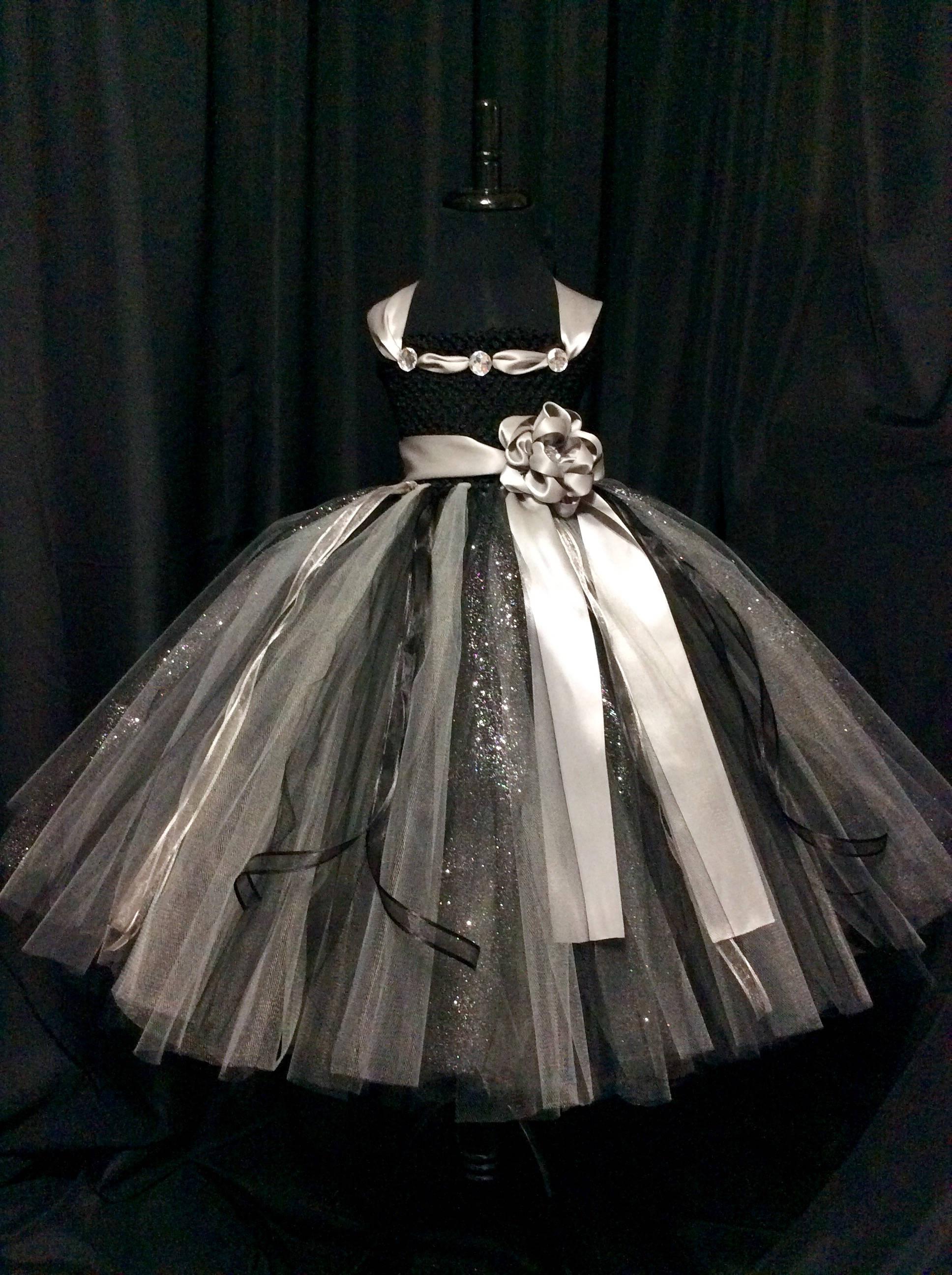 6a26564585 Black and silver flower girl dress flower girl tutu dress | Etsy