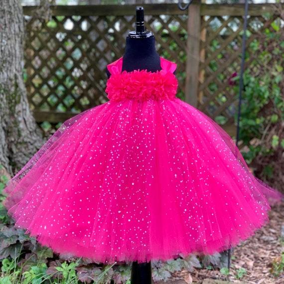 Fuchsia flower girl dress, sparkle dot tulle, floral bodice, flower girl tutu, tutu dress for girls, tulle flower girl dresses, wedding tutu