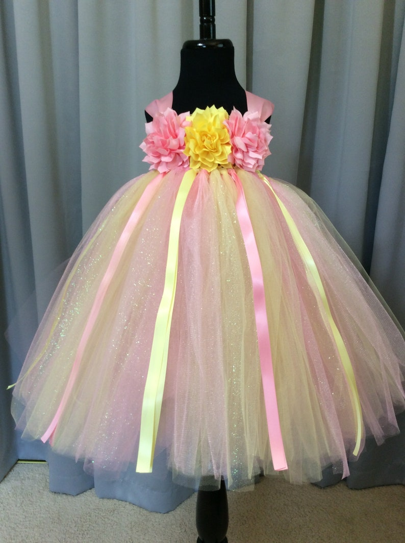 92bc28bc11a Yellow and pink flower girl dress flower girl tutu dress