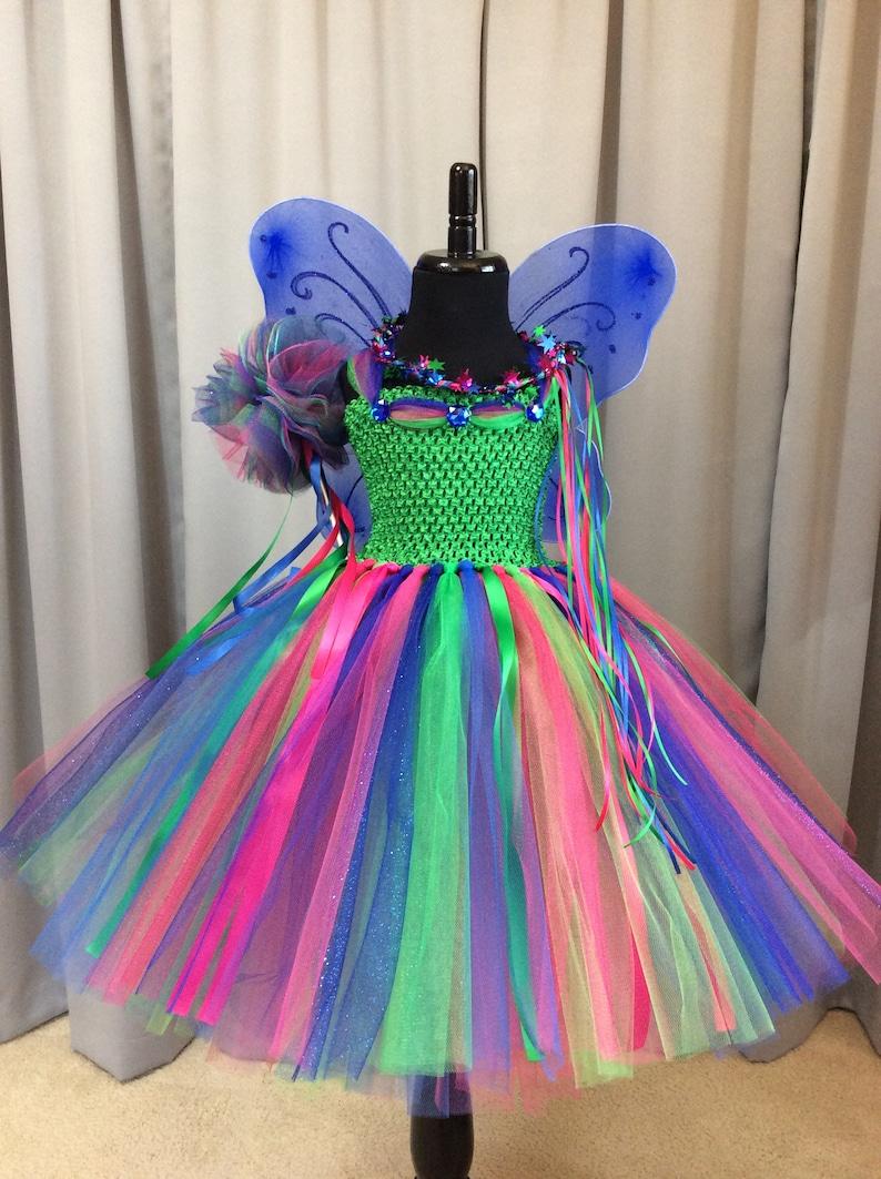 grün royal blue  pink fee kostüm mit zauberstab flügeln