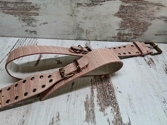 Vintage Crocodile Print Women's Belt, Genuine Crea
