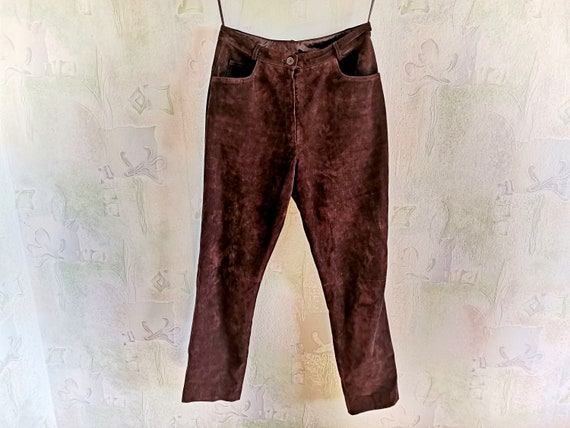 Cowboys Suede Leather Pants, Real Brown Leather Pa