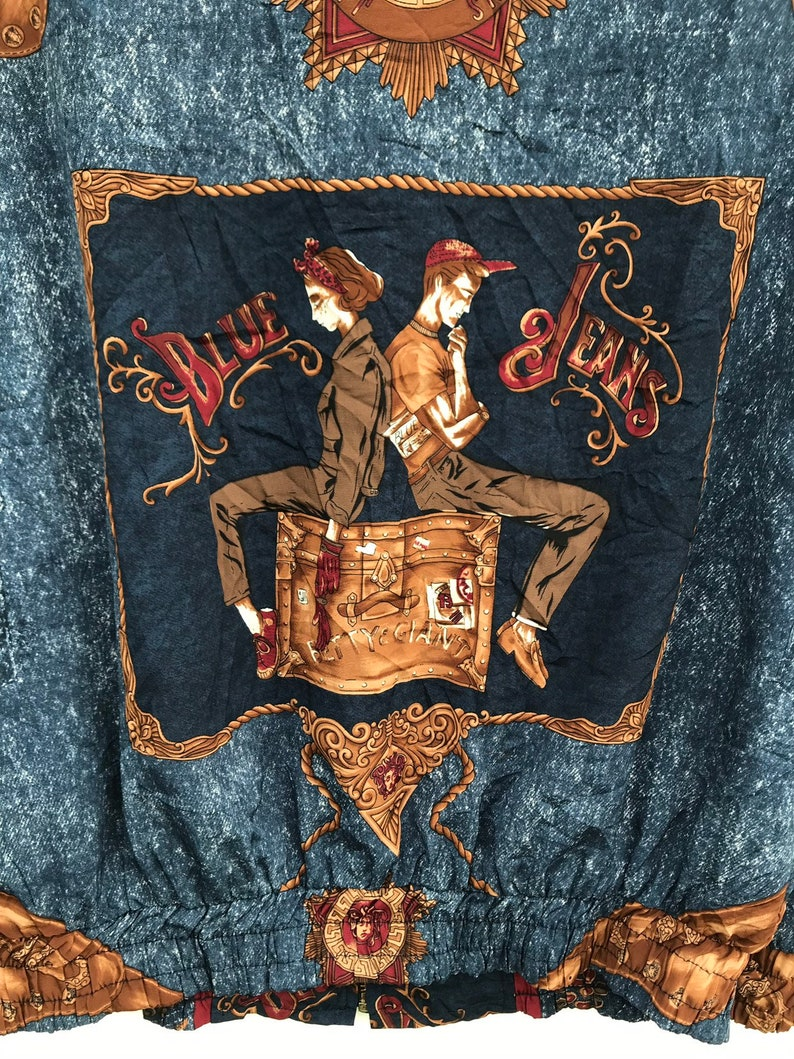 Vintage Abstracts Royalty Baroque Medusa Jacket Vintage 1990s Abstracts Pop Art Multicolour Coat Blue Blue Jacket Unisex Jacket sz L