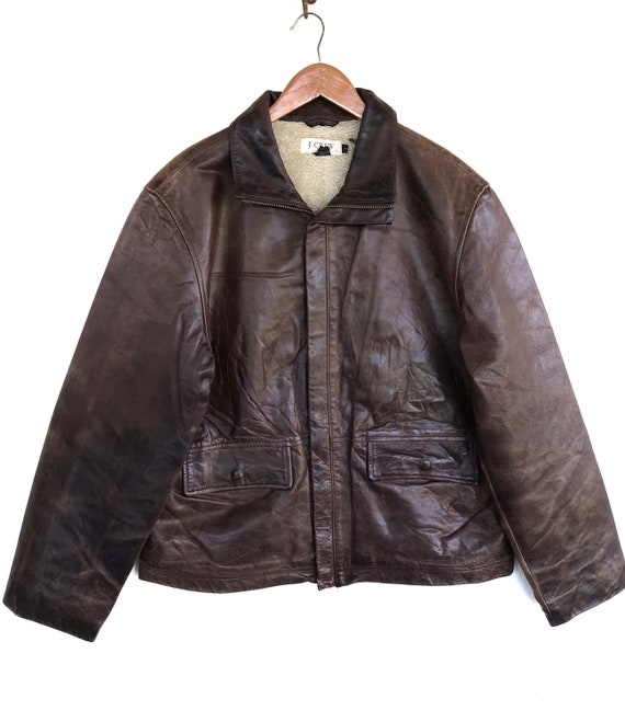 Vintage J crew Jacket J crew Leather Sherpa Jacket